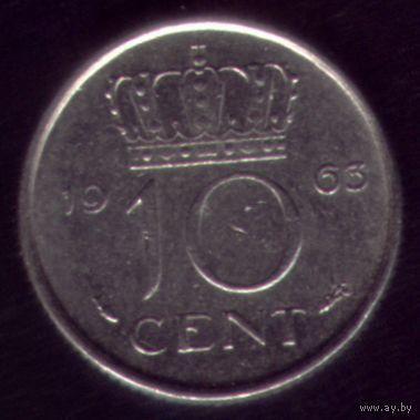 10 центов 1963 год Нидерланды