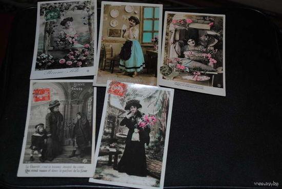 """Сборная серия старинных открыток, по теме: """"ЕВРЕЙСКИЕ Девушки"""" - моя коллекция до 1917 года - антикварная редкость - цена за всё, что на фото, по отдельности пока не продаю-!"""