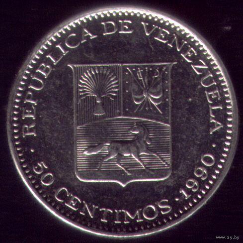 50 сентимов 1990 год Венесуэла Круглая