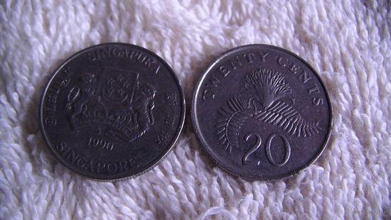 Сингапур 20 центов 1990г. распродажа