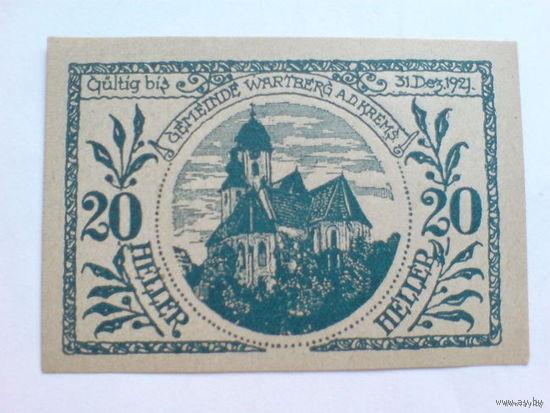 Австрия 20 геллер 1921г. нотхельд  распродажа