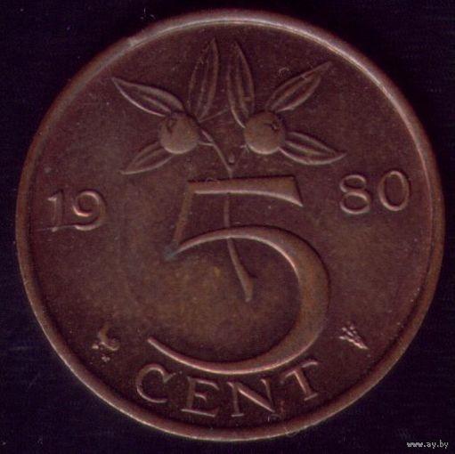 5 центов 1980 год Нидерланды