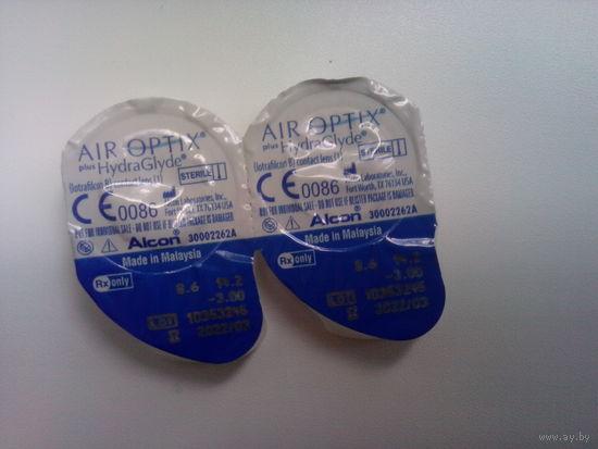 Контактные линзы Air Optix plus HydraGlyde -3,0 (1 пара)