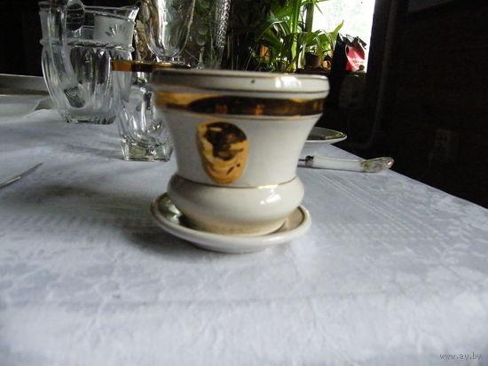 Цветочный горшок с блюдцем золото маленький Германия