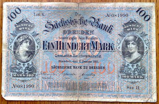 Саксония 100 марок 1911г.