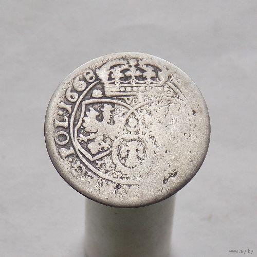 6 грошей 1668 Ян II Казимир Ваза