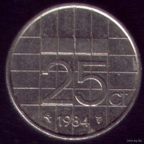 25 центов 1984 год Нидерланды