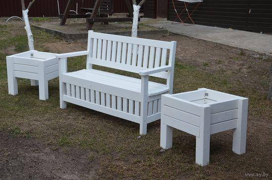 Садовая мебель из массива сосны.Эксклюзив! ЦЕНА стоит за белую лавку с 2-мя цветниками.