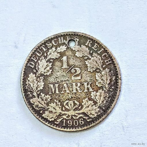 1\2 марки 1906 год. Серебро !!! С рубля .