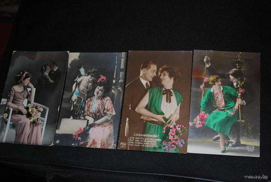 """Сборная серия старинных открыток, по теме: """"Яркие Парочки"""" - моя коллекция до 1925 года - антикварная редкость - цена за всё, что на фото, по отдельности пока не продаю-!"""