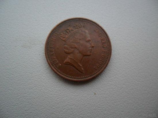 Великобритания 1 новый пенни 1991 год