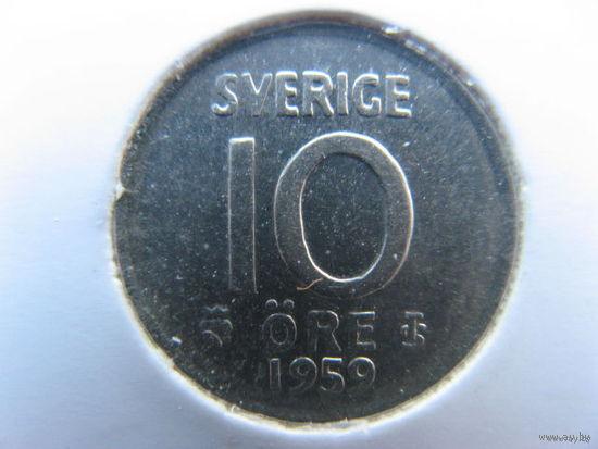 Швеция 10 эре 1959 г. серебро