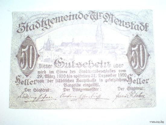 Австрия 50 геллеров нотхельд 1920г. Гутсебейт   распродажа