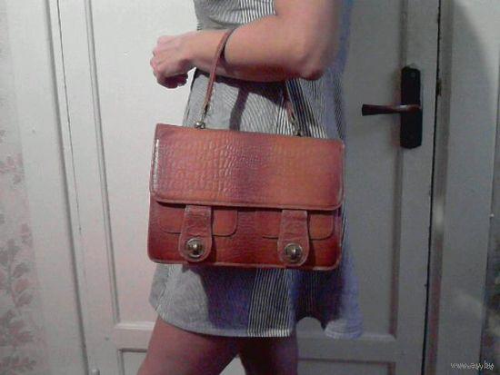 """Рыжая сумка """"под крокодила"""", нат. кожа, винтаж, 60-е годы"""