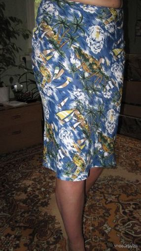 "Суперская юбочка ""курортной"" расцветки)), легкая натуральная ткань! р.42. НОВАЯ!"
