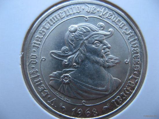 Португалия 50 эскудо 1968 г. 500 лет со дня рождения Педру Алвариша Кабрала (юбилейная) серебро