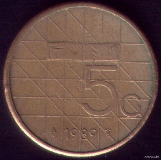 5 Гульденов 1989 год Нидерланды