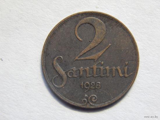Латвия 2 сантима 1928г