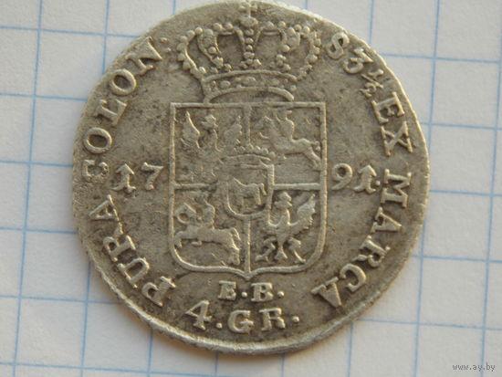 1 злотый 4 гроша 1791 г.