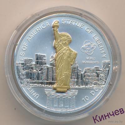 10 долларов о-ва Кука 2006 г. -Статуя Свободы США.3D