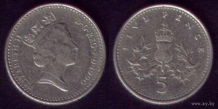 5 пенсов 1990 год Англия Круглая