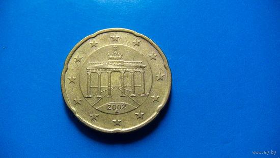 Германия 20 евроцентов А 2002г.  распродажа
