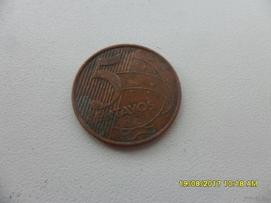 5 центов Бразилия 2010 год - из копилки