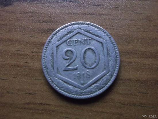 Италия 20 сентезими 1918