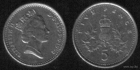 5 пенсов 1992 год Великобритания Круглая