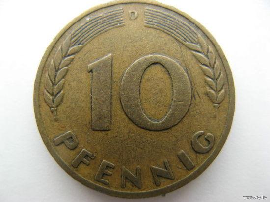 Германия 10 пфеннигов 1949г. D (ФРГ)