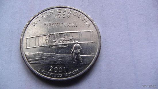 США 25 центов 2001г  NORTH CAROLINA   распродажа