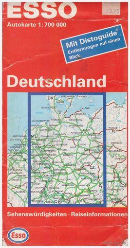 Автомобильная карта Германии. С указателем расстояний и алфавитным указателем