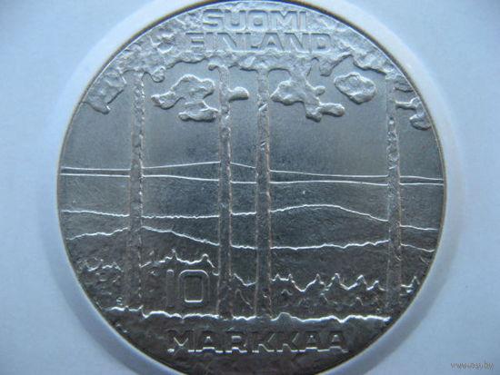 Финляндия 10  марок 1975 г. 75 лет со дня рождения президента Урхо Кекконен. (юбилейная) серебро