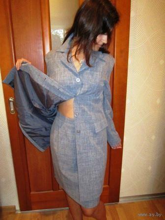 Супер стильный СЕРЕНЬКИЙ костюмчик р.48-50
