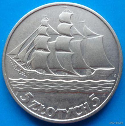 Польша 5 злотых 1936 года кораблик (серебро). Краузе Y# 31. Состояние aUNC!