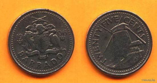 Барбадос 25 ЦЕНТОВ 1996г.   распродажа