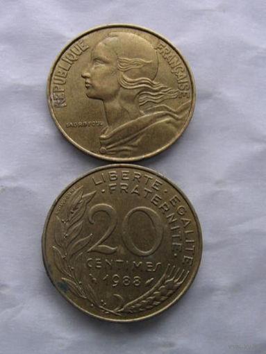 Франция 20 сантим 1988г  распродажа