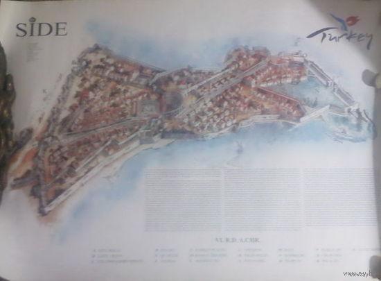 Карта античного Сиде, самого важного и крупного города Памфилии