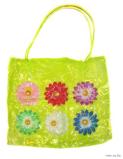 Яркая летняя пляжная сумка, абсолютно новая, объемная, ярко-лимонного цвета, но при этом прозрачная, пр-во Шри-Ланка