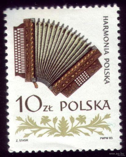 1 марка 1984 год Польша Гармонь