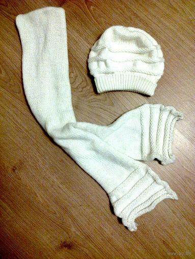 Белый вязаный комплект (шапка и шарф)