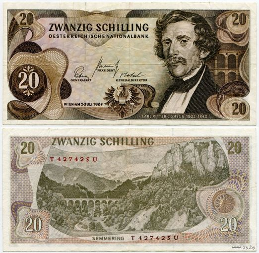 Австрия. 20 шиллингов (образца 1967 года, P142)
