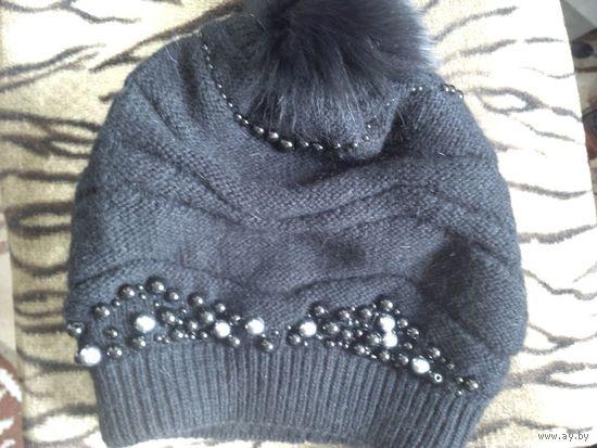 Снижаю цену!!! Красивая чёрная шапка