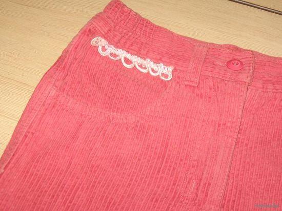 Розовая вельветовая юбка 5-7 лет