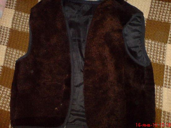 Куртка зимняя  кожаная 50-52 р на съёмной подстёжке из натурального меха.