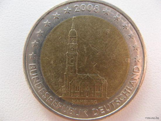 Германия 2 евро 2008г. (F) Федеральные земли Германии - Церковь св. Михаила, Гамбург. (юбилейная)