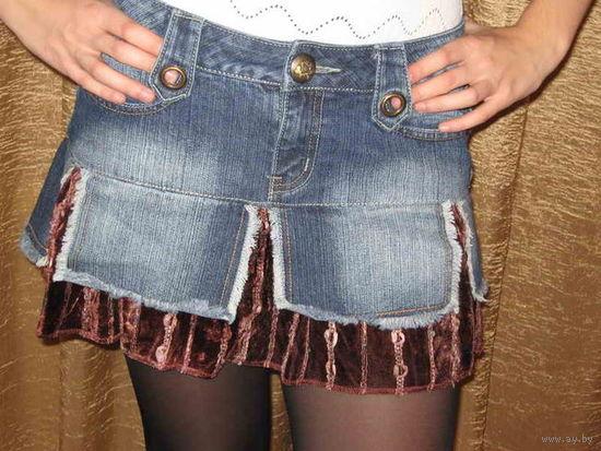 Юбка джинсовая женская со вставкой вельвета