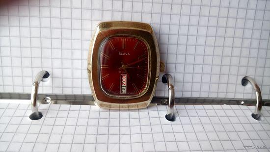 """Часы """"Слава"""" редкие с нижним календарем золочение au-10"""