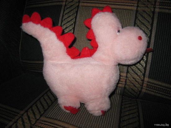 Плюшевый розовый динозаврик, 21 см, с валентинкой