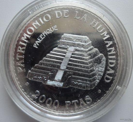 Испания 2000 песет 1996 г. Серия памятники Юнеско. Palenque, Mexico. Тираж всего 30 тыс. шт. Серебро. Пруф! Идеальное состояние!